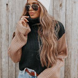 Turtleneck Contrast Black/Mocha Sweater | Magnolia Boutique