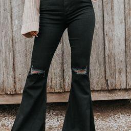 Halen Distressed Black Flare Jeans | Magnolia Boutique
