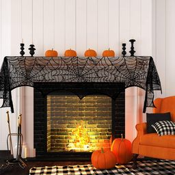 Round Lace Table Topper Black Spider Tablecloth and Fireplace Spider Decorations Lace Spiderweb M... | Walmart (US)