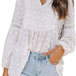 Biucly Women Summer Casual V Neckline Loose Tops Blouses Shirt   Amazon (US)