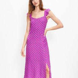 Dotted Ruffle Strap Pocket Midi Dress   LOFT