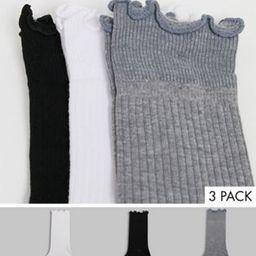 ASOS DESIGN 3 pack frill top calf length socks in multi | ASOS (Global)