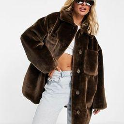 ASOS DESIGN plush faux fur shacket in brown | ASOS (Global)