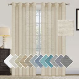 Turquoize Natural Linen Blended Curtains Grommet Sheer Light Filtering Curtain Drapery Panels for... | Walmart (US)