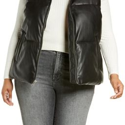 Faux Leather Puffer Vest   Nordstrom