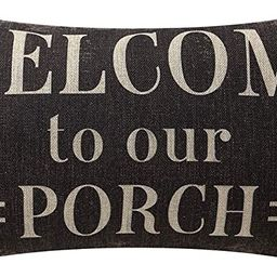 TRENDIN Decorative Throw Pillow Cover 20x12 inch Rustic Look Black Welcome to Our Porch Cushion C... | Amazon (US)