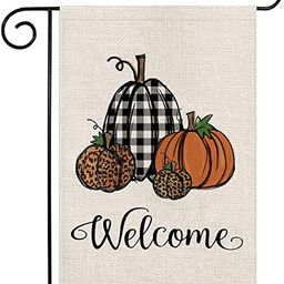 Acerich Fall Garden Flag, Welcome Thanksgiving Fall Flag Double Sided, Leopard Pumpkin Buffalo Pl... | Amazon (US)