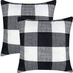 Black and White Pillows, Farmhouse Buffalo Plaid Pillow Covers Set of 2, Fall Outdoor Pillows Dec... | Amazon (US)
