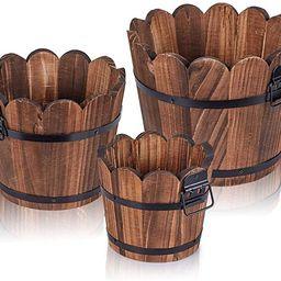 Wooden Bucket Barrel Planters, Rustic Patio Planters Flower Pots for Plants Indoor Décor, Set of... | Amazon (US)