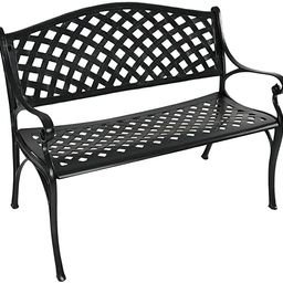 Sunnydaze Outdoor Patio Bench - Black Checkered Design - Durable Cast Aluminum Metal - 2-Person S... | Amazon (US)