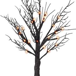 FUNPENY Lighted Black Birch Spooky Tree, 2FT Halloween Battery Operated Tree Lights with Spider W... | Amazon (US)