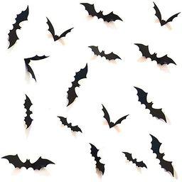 HOZZQ DIY Halloween Party Supplies PVC 3D Decorative Scary Bats Wall Decal Wall Sticker, Hallowee... | Amazon (US)