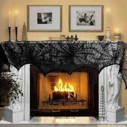 AerWo Halloween Decoration Black Lace Spiderweb Fireplace Mantle Scarf Cover Festive Party Suppli... | Amazon (US)