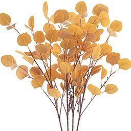 Tepaler 4Pcs Artificial Eucalyptus Leaves Stems 33.8'' Eucalyptus Branches Orange Fake Fall F... | Amazon (US)