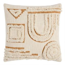 Ivory And Gold Tufted Abstract Throw Pillow   World Market