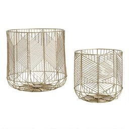 Gold Wire Geometric Reese Basket   World Market