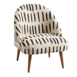 Charcoal Gray And Ivory Dash Print Noemi Chair   World Market