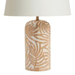 Natural Carved Wood Leaf Sura Table Lamp Base | World Market