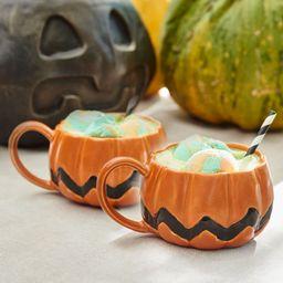 Peanuts™ Pumpkin Shaped Stoneware Mugs - Set of 2   Pottery Barn (US)
