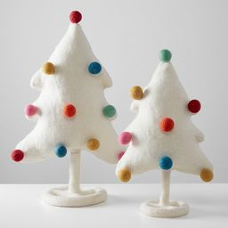 White Pom Pom Felted Wool Trees, Set of 2 | Pottery Barn Kids