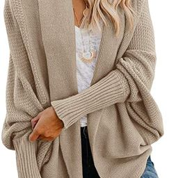 Imily Bela Women's Kimono Batwing Cable Knitted Slouchy Oversized Wrap Cardigan Sweater | Amazon (US)