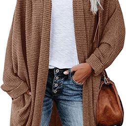 ZoeAce Womens Open Front Knit Cardigan Long Batwing Sleeve Oversized Sweater Chunky Waffle Cable ... | Amazon (US)
