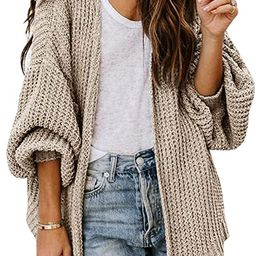 Womens Open Front Chunky Knit Sweaters Oversized Lantern Sleeve Casual Cardigans Loose Cozy Outwe... | Amazon (US)