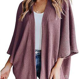 Women's Waffle Knit Batwing 3/4 Sleeve Cardigan Lightweight Loose Open Front Oversized Sweater Co... | Amazon (US)
