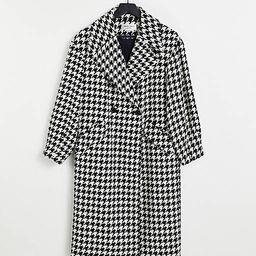 Helene Berman oversized dogtooth wool blend coat in black   ASOS (Global)