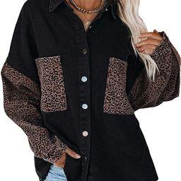 Happy Sailed Womens Leopard Contrast Denim Jackets Oversize Long Sleeve Button Down Pockets Jean ... | Amazon (US)