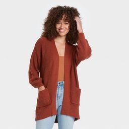 Women's Open-Front Cardigan - Universal Thread™ Rust M   Target