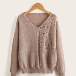 Girls Cable Knit Drop Shoulder Sweater | SHEIN