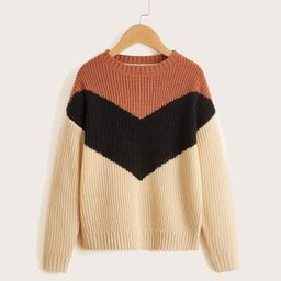 Girls Color Block Drop Shoulder Sweater | SHEIN