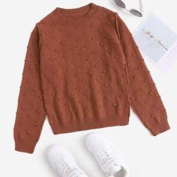 Girls Solid Popcorn Knit Sweater | SHEIN