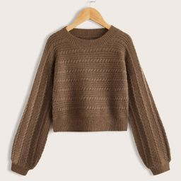 Girls Cable Knit Sweater | SHEIN