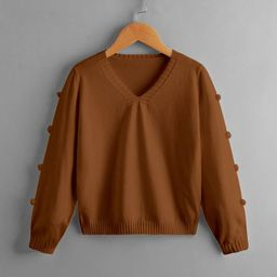 Girls Pom Pom Detail Sweater | SHEIN