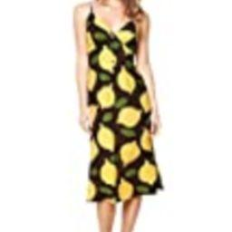 Sugarlips Women's Pucker Up Lemon Print Midi Slip Dress, Black Multi, Meduim | Amazon (US)