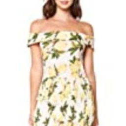 Sugar Lips Women's Lemon Print Smocked Body Off SHOULDR Mini Dress, Ivory-Multi, Large | Amazon (US)
