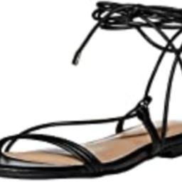 The Drop Women's Samantha Flat Strappy Lace-Up Sandal, Faux Leather Black, 6 | Amazon (US)