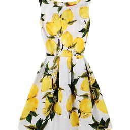 Red Velvet Women's Casual Dresses YELLOW - Yellow Floral Lemons Pleated A-Line Dress - Women | Zulily