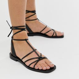 & Other Stories strappy flat sandals in black | ASOS (Global)