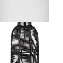"Amazon Brand – Stone & Beam Contemporary Rattan Table Lamp, LED Bulb Included, 22""H, Black | Amazon (US)"