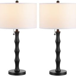 WINGBO 2 Pack Bamboo Table Lamp, Industrial Black Table Lamp Set of 2 with KD Fabric Shade Farmho... | Amazon (US)