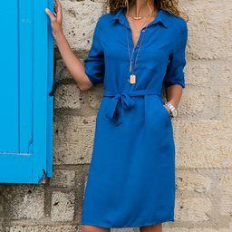 Coeur de Vague Women's Casual Dresses Blue - Blue Belted Shirt Dress - Women | Zulily