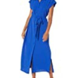 Calvin Klein Women's Collared Maxi Shirt Dress with Self Sash Waist, Klein Blue, 4 | Amazon (US)