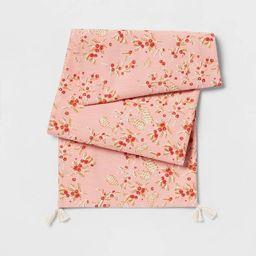 "72"" x 14"" Cotton Winter Berries Table Runner Pink - Threshold™ | Target"