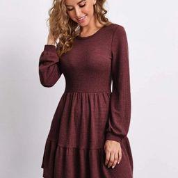 SHEIN Flounce Hem Solid Dress | SHEIN