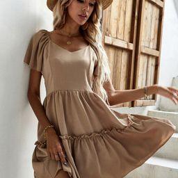 Sweetheart Neck Ruffle Hem Dress | SHEIN