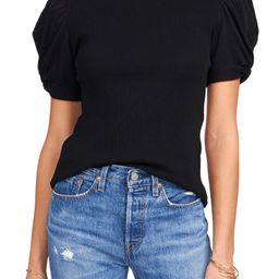 Puff Sleeve Rib Knit T-Shirt   Nordstrom