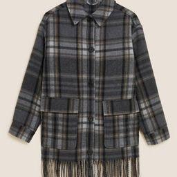 Checked Fringed Shacket with Wool   Marks & Spencer (UK)